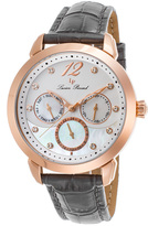 Lucien Piccard Gray & Mother-of-Pearl Rivage Leather-Strap Watch - Women