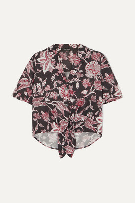 Isabel Marant Neel Tie-front Floral-print Cotton Shirt - Black