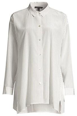 Eileen Fisher Striped Classic Collar Silk Swing Top