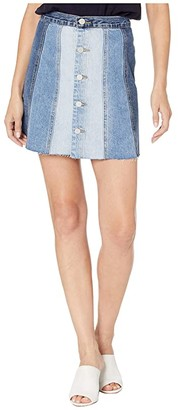 Blank NYC Denim Mini Skirt with Color Blocking Detail in All Or Nothing (All Or Nothing) Women's Skirt