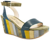 Nina Verge Platform Leather Wedge Sandals