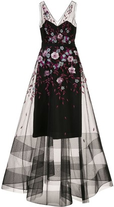 Marchesa Notte Floral Embellished Tulle Gown
