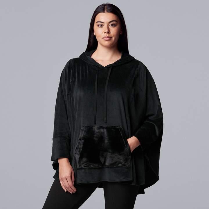 Vera Wang Plus Size Simply Vera Hooded Velour Sleep Poncho