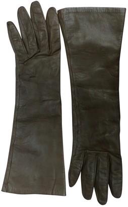 Hermes Khaki Leather Gloves