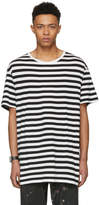 Yohji Yamamoto White and Black Striped Staff T-Shirt