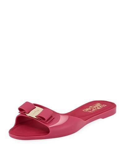 2506b1c7347 Cirella Flat PVC Jelly Bow Slide Sandals, Hot Pink