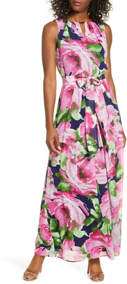 Donna Ricco Abstract Floral Print Sleeveless Maxi Dress