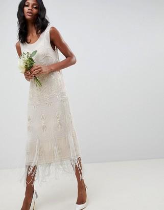 ASOS EDITION fringe embellished midi wedding dress with a low back