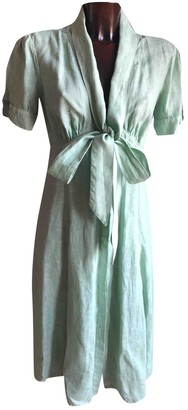 120% Lino Green Linen Dress for Women