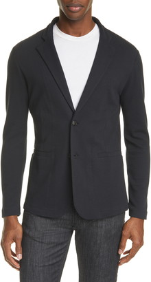 Emporio Armani Trim Fit Stretch Knit Cotton Blend Sport Coat