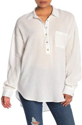 MelloDay Dolman Sleeve High/Low Tunic Shirt