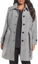 Gallery Plus Size Women's Belted Tweed Coat