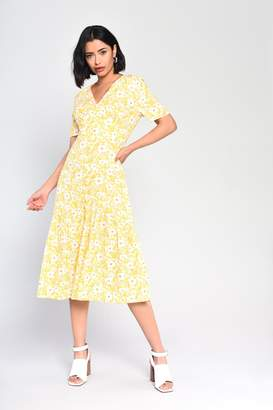 Glamorous Womens **Yellow Button Front Floral Dress By Yellow