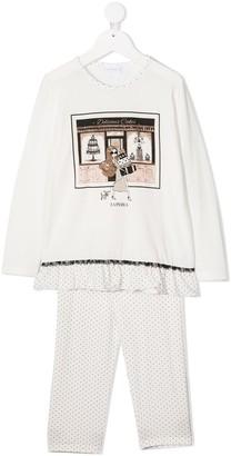 La Perla Kids Polka Dot Pyjamas With Lace Trim