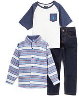 U.S. Polo Assn. Blue & White Stripe Button-Up Set - Infant & Boys