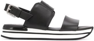Hogan Striped-Sole Platform Sandals