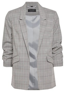 Dorothy Perkins Womens Pink Checked Ruched Sleeve Blazer, Pink