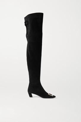 Roger Vivier Belle Vivier Buckled Suede Over-the-knee Boots - Black