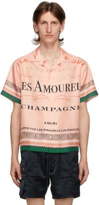 Amiri Pink Silk Les Amoureux Champagne Short Sleeve Shirt