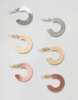 New Look 3 Pack Flat Hoop Earrings
