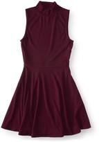 Ribbed Mock-Neck Fit & Flare Dress