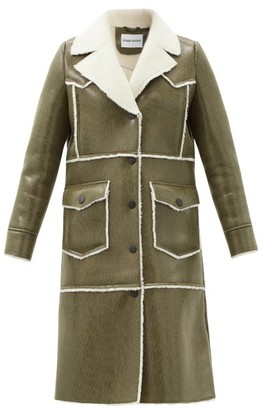 Stand Studio Adele Faux Shearling-trimmed Faux-leather Coat - Khaki