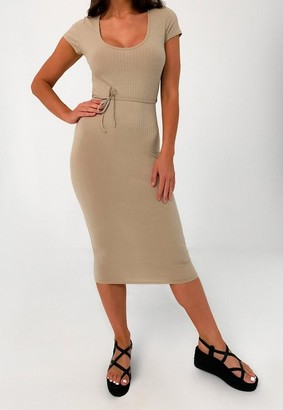 Missguided Petite Camel Rib Belted Midi Dress