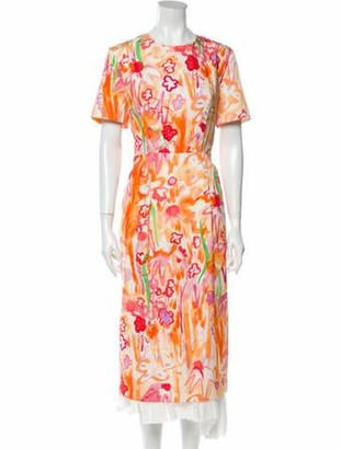 Marni Printed Long Dress Orange