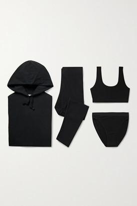 Skin The Lounge Stretch Organic Cotton-jersey Set - Black