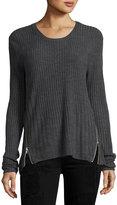 Sweet Romeo Zip-Detail Ribbed Sweater, Charcoal