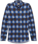 Camoshita Button-down Collar Checked Cotton Oxford Shirt - Blue