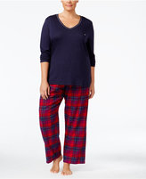 Nautica Plus Size V-Neck Knit Top and Flannel Pajama Pants Gift Set