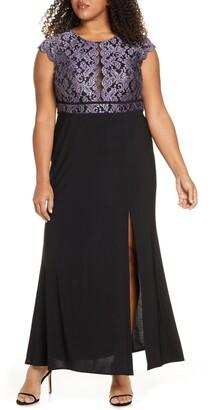 Morgan & Co. Lace Bodice Slit Gown