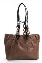 Dolce & Gabbana Mauve Leather Two Tone Miss Night And Day Tote Handbag