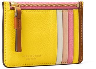 Tory Burch Perry Color-Block Top-Zip Card Case