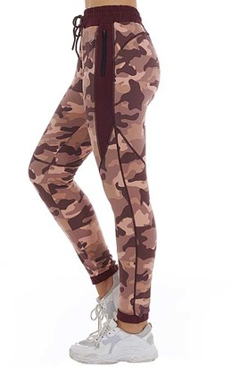 Bsp BSP Women's Sweatpants Red - Red Camo Zip-Pocket Fleece Joggers - Women