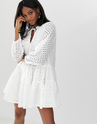 Asos Design DESIGN tiered trapeze mini dress in broderie-White