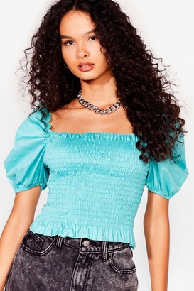 Nasty Gal Womens Puff Love Shirred Cropped Blouse - Sage
