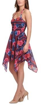 GUESS Printed Chiffon Hanky-Hem Slip Dress