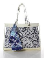 Burberry Blue White Plastic Floral Open Top Double Strap Tote Handbag