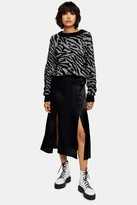 Topshop PETITE Black Satin Double Split Midi Skirt
