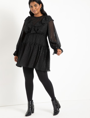 ELOQUII Ruffled Mini Dress With Full Sleeves