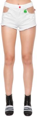 GCDS Swan Embroidered Denim Shorts W/ Cutouts