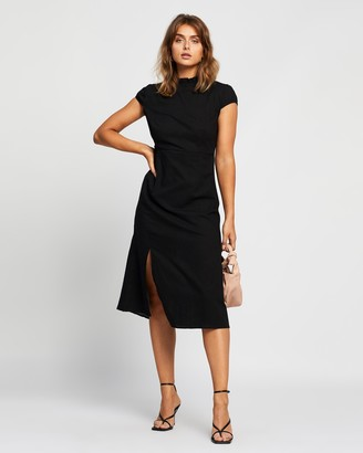 Reverse High Neck Midi Dress