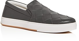 Bottega Veneta Men's Wide Weave Leather Slip-On Sneakers