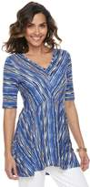 Dana Buchman Women's Striped Shark-Bite Hem Tunic