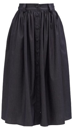 Brock Collection Buttoned Cotton-blend Chambray Midi Skirt - Denim