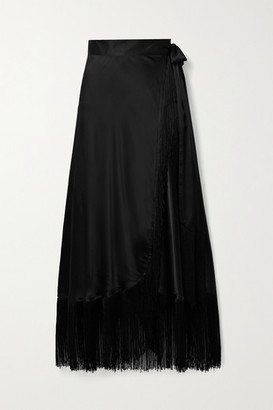 Miguelina Amara Fringed Silk-satin Wrap Maxi Skirt - Black
