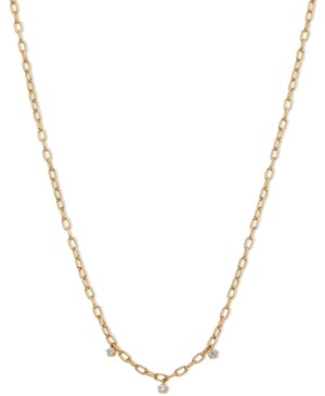 """AVA NADRI 18k Gold-Plated Link & Cubic Zirconia Shaky Charm Collar Necklace, 16"""" + 2"""" extender"""