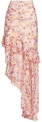 AMUR Emelia Asymmetrical Ruffle Silk Maxi Skirt